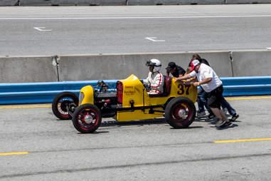 Push starting a vintage race car