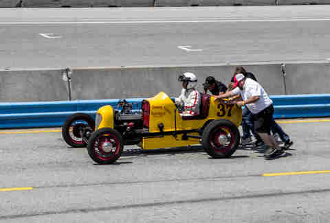 Push starting a vintage race car