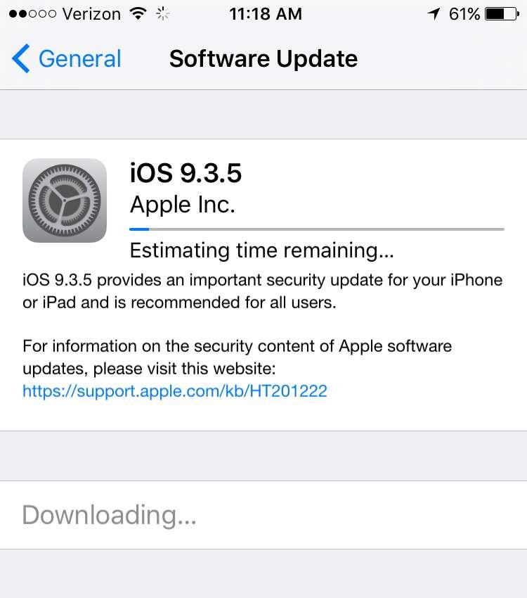 iOS 9 update screen