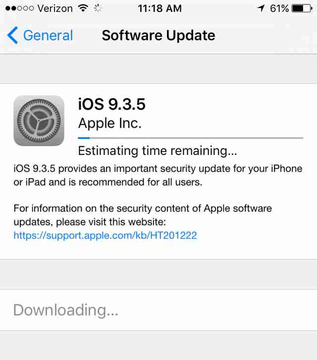 iOS 9 update screen