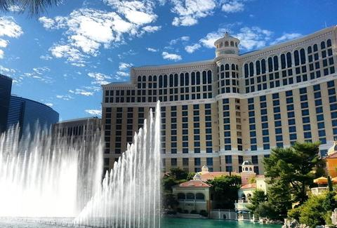 Iconic fountains and gambling at luxury resort The Bellagio Las Vegas