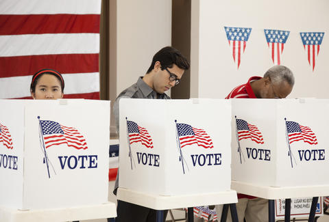 Voters in polling place