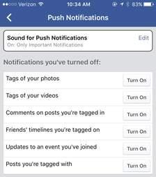 facebook's ios app settings page