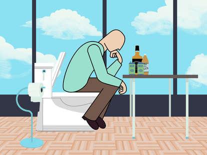 cartoon man pooping