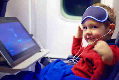 little kid in airplane
