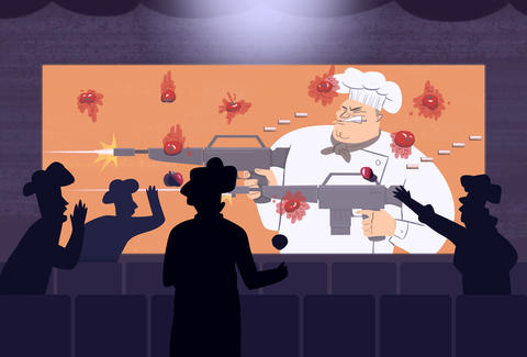 Chefs throwing tomatoes at chefs in movie