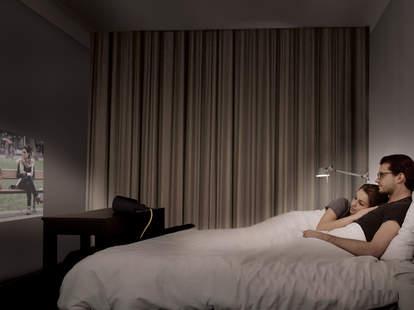 beam smart lightbulb projecting on bedroom wall