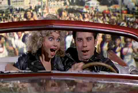 grease sandy danny car olivia newton-john john travolta