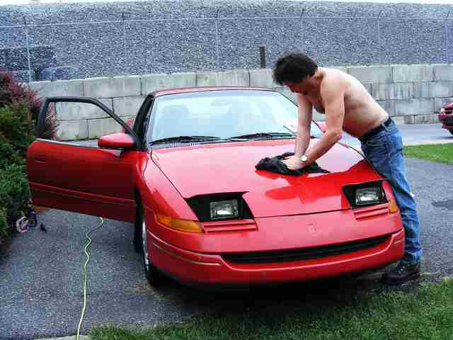 Waxing a car
