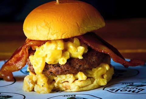 Mac n cheese burger at Mel's in Morningside Heights
