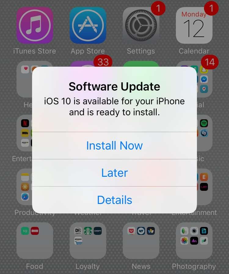 apple ios 10 update alert