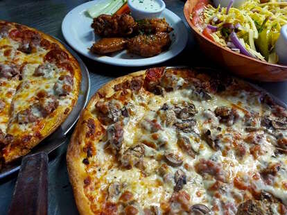 Chicago-style deep dish pizza at Rocco's in Tucson AZ