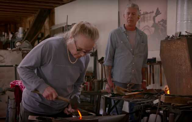 Watch This Lady Blacksmith Totally Steal Anthony Bourdain's Spotlight