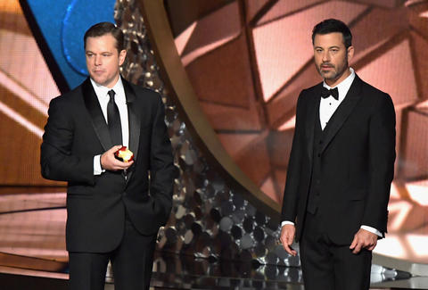 emmys 2016 jimmy kimmel and matt damon