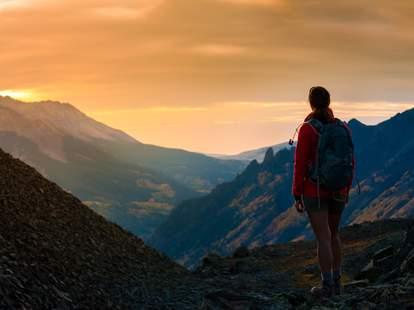Colorado hiker sunset