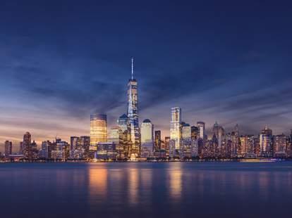 NYC skyline lights