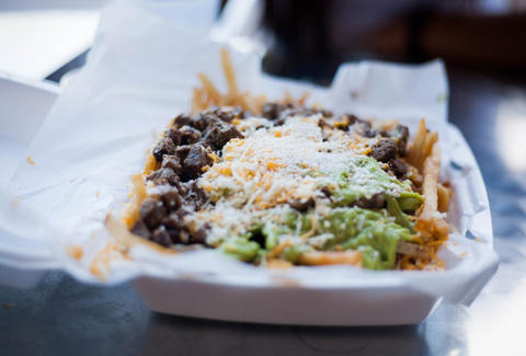 Great carne asada fries and late night Mexican food at Viva Tacos La Estrella in LA