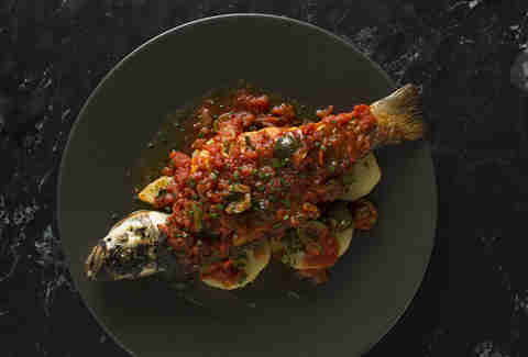 Barbacco fish red sauce