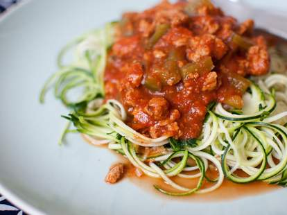 Zucchini noodles with tomato sauce.