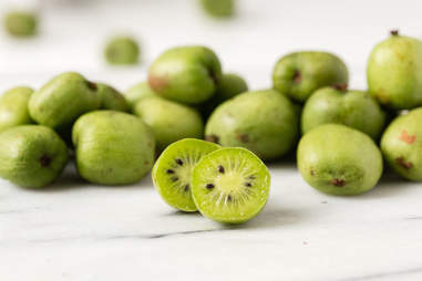 kiwiberries cut open