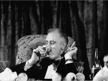 Franklin D. Roosevelt Drinking Wine