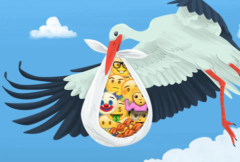 stork dropping bundle of emoji