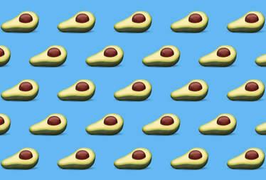avocado emoji on blue background
