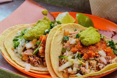 Mexico city street food tacos