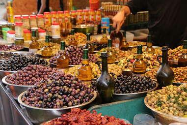 Tel Aviv food market olives oil