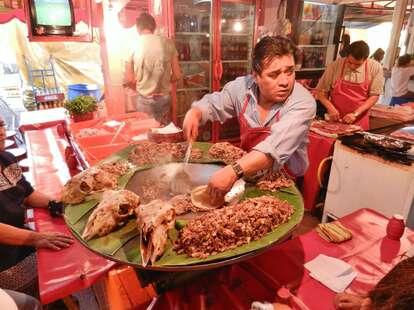 Mexico city street food eat taco stall