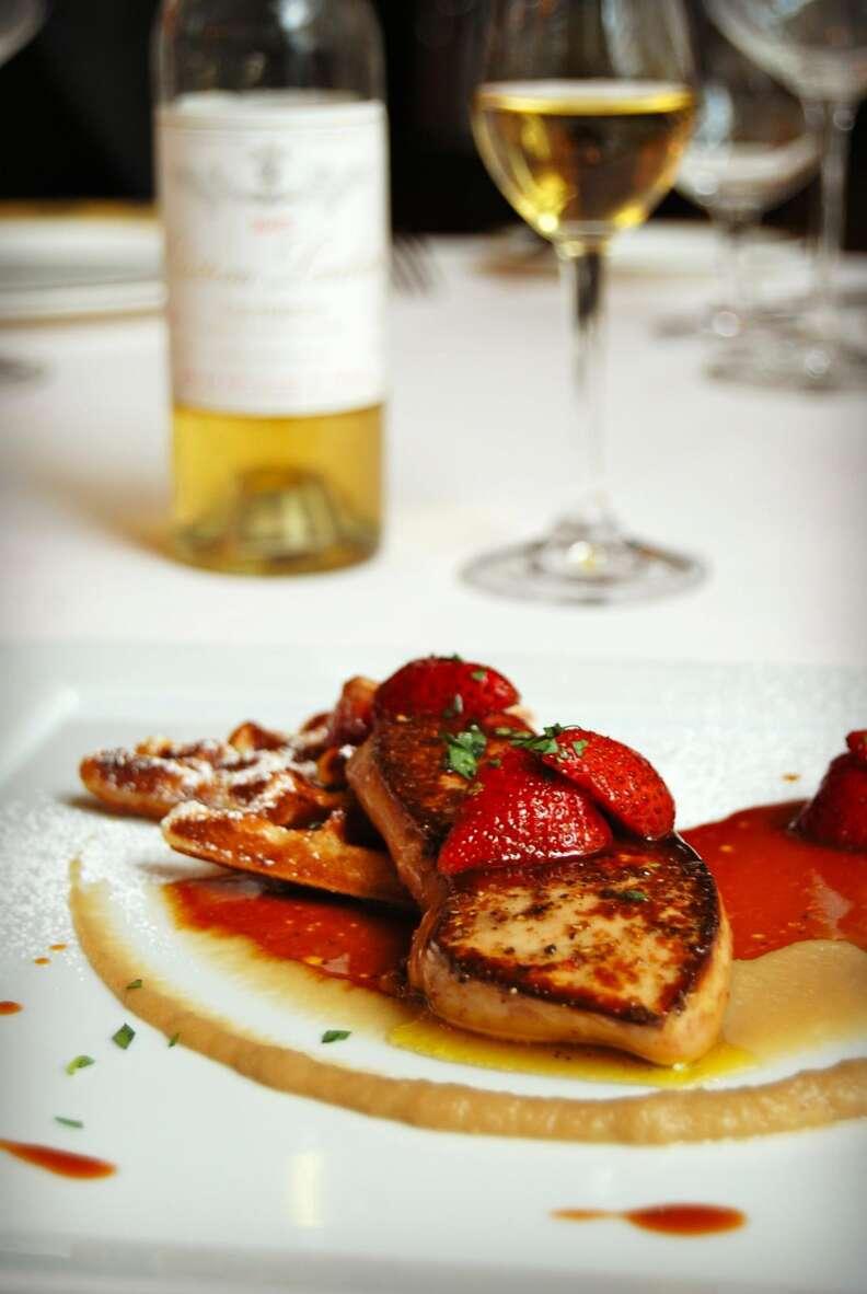 Foie gras waffles