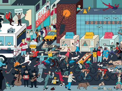 car-less 14th street L-train shut down nyc illustration