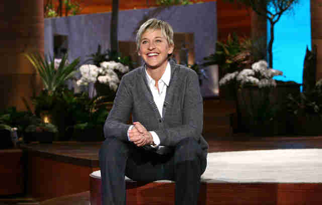 ellen degeneres on talk shot set