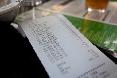 big check at restaurant