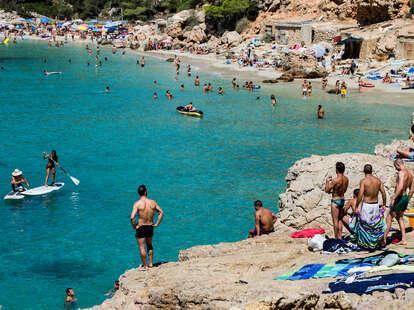 Cliff beach diving