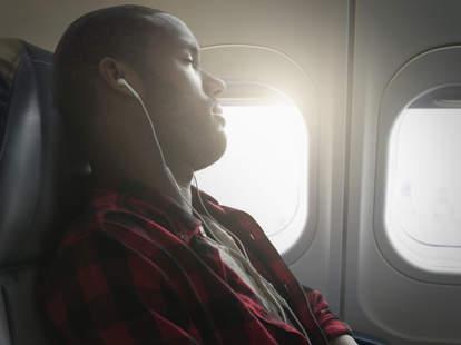 Relaxed airline passenger