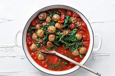 Harissa Meatballs with Lentils