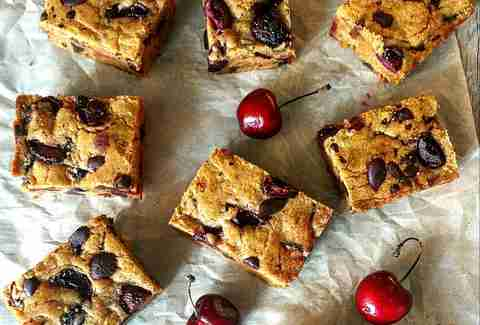 Harissa cherry & chocolate blondies