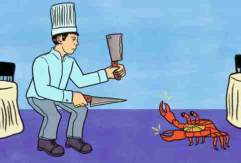 chef fighting with lobster