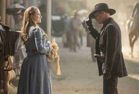 evan rachel wood and ed harris on westworld hbo