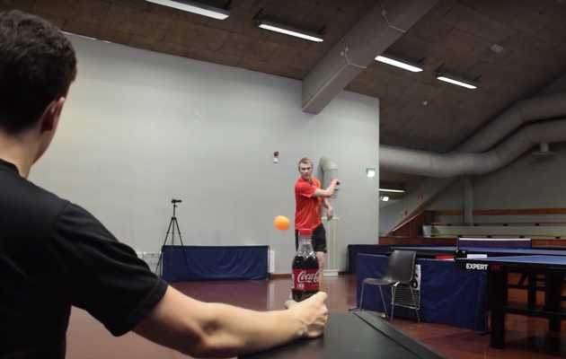 This Guy Opens a Soda Bottle with an Insane Ping Pong Trick Shot