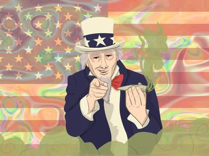 Uncle Sam smoking weed American flag