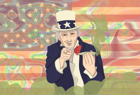 Uncle Sam smoking weed American flag