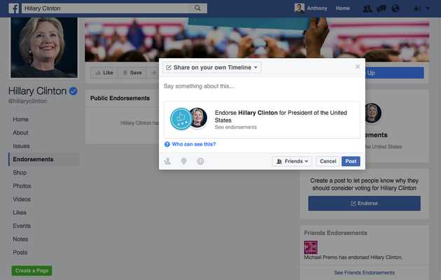 Facebook Wants You to Endorse Political Candidates Now