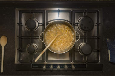 boiling pot of pasta