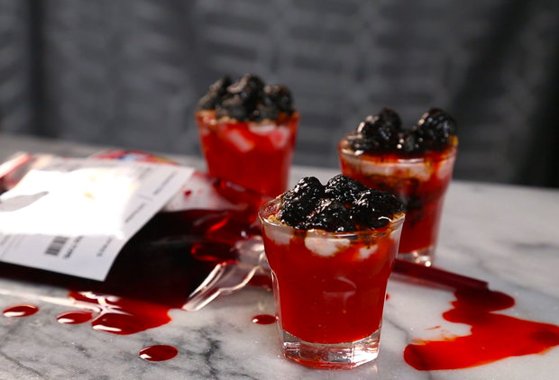 Get Weird on Halloween With Whiskey and Strawberry Blood Clot Shots