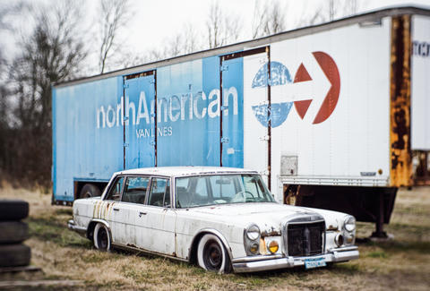 Abandoned Mercedes and Trailer