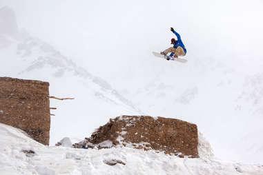 Snowboarding in the Bamiyan Mountains