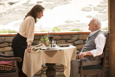 sidse babett knudsen and anthony hopkins on hbo westworld