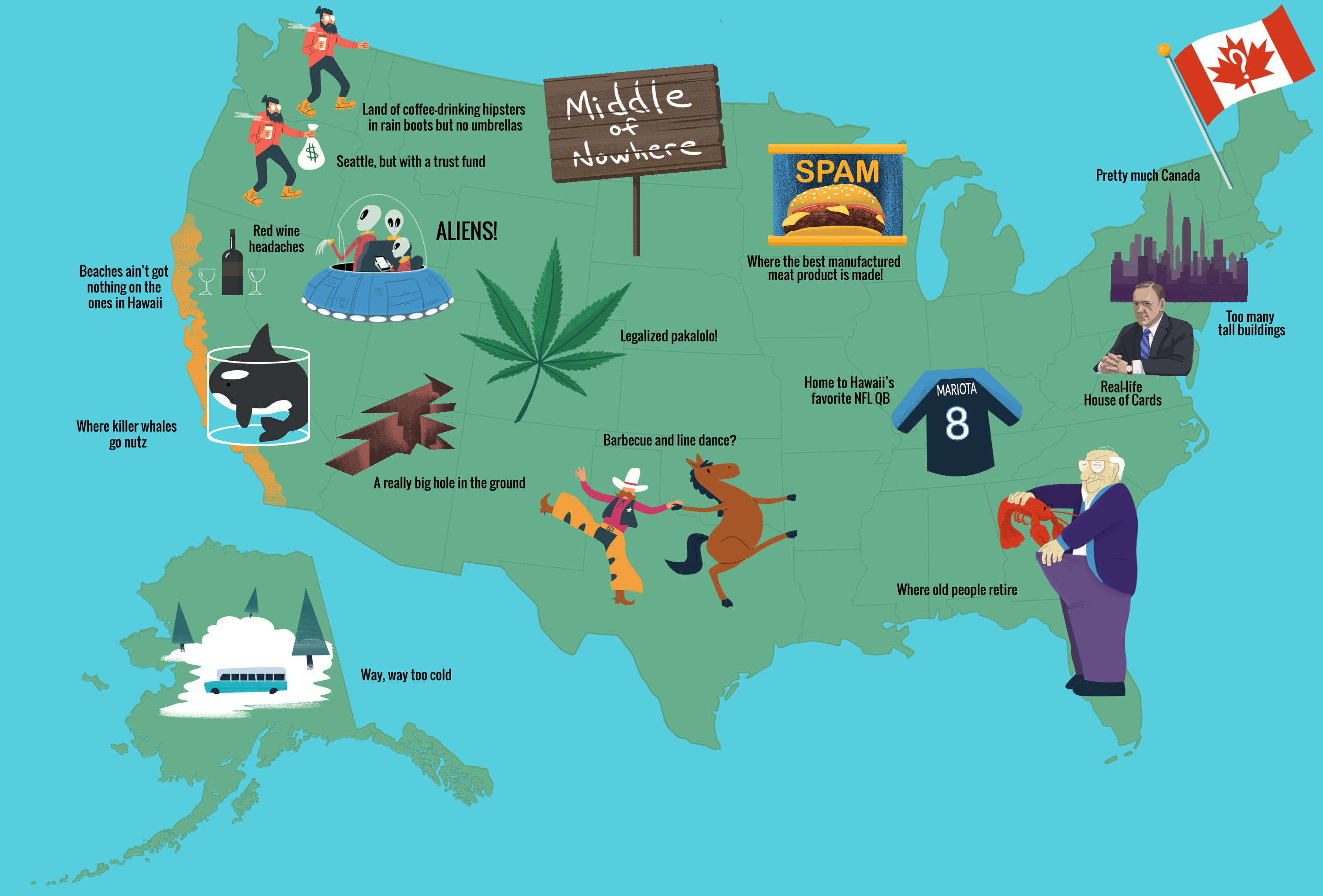 Map Of The United States Of America According To Hawaii Thrillist - Map usa canada hawaii